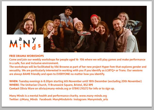 Free drama workshops Nov- Dec